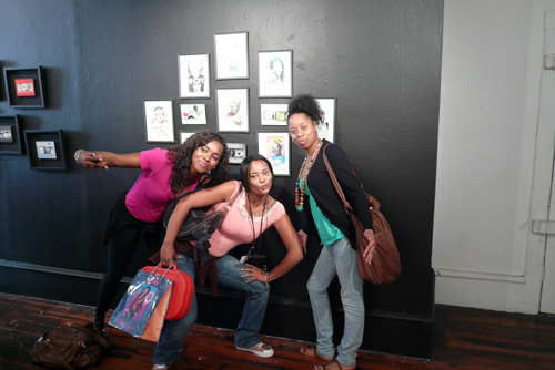 Students with Akira's paintings